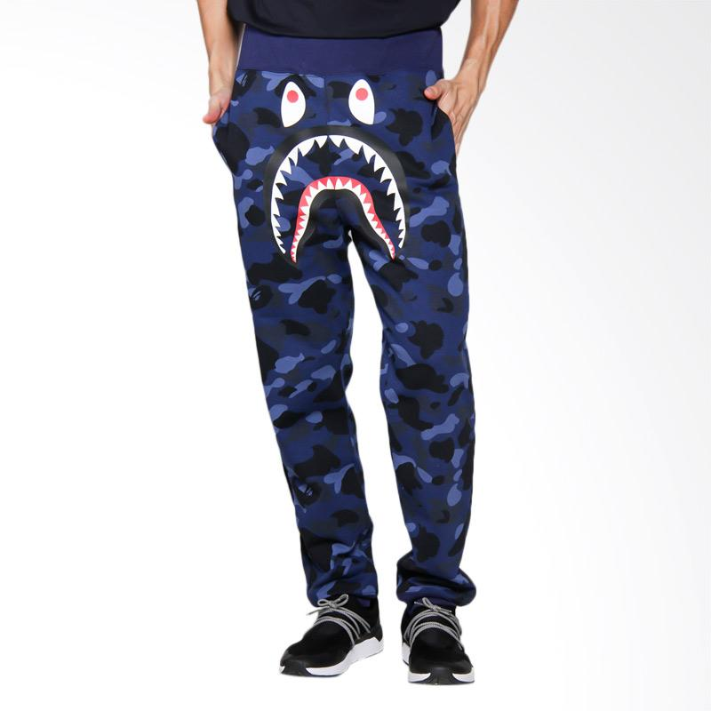 A Bathing Ape Camo Shark Slim Sweat Pants Celana Panjang Pria - Navy