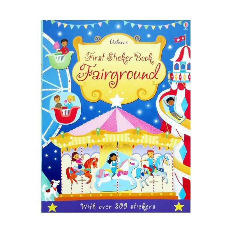 Genius Usborne First Sticker Book Fairground with over 200 stickers Buku Anak