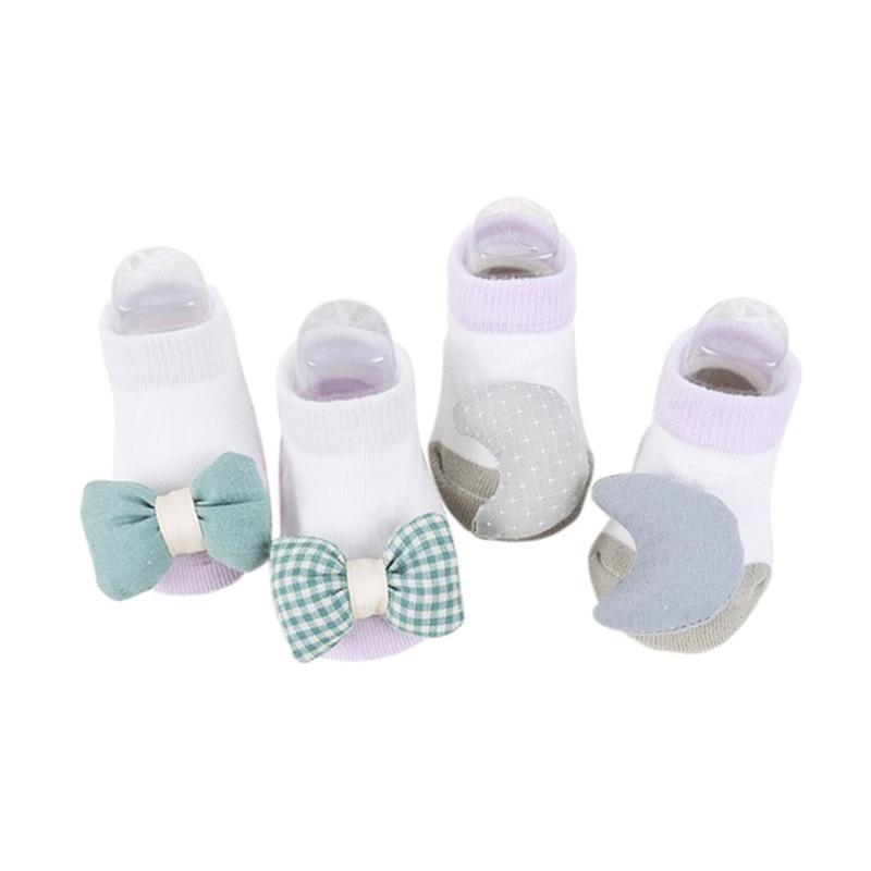 Abby Baby Shape Socks Kaos Kaki Bayi - Green [2 Pairs]