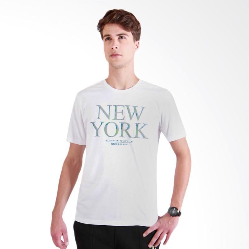 180 Degrees NY Flocking T-Shirt Pria - Putih
