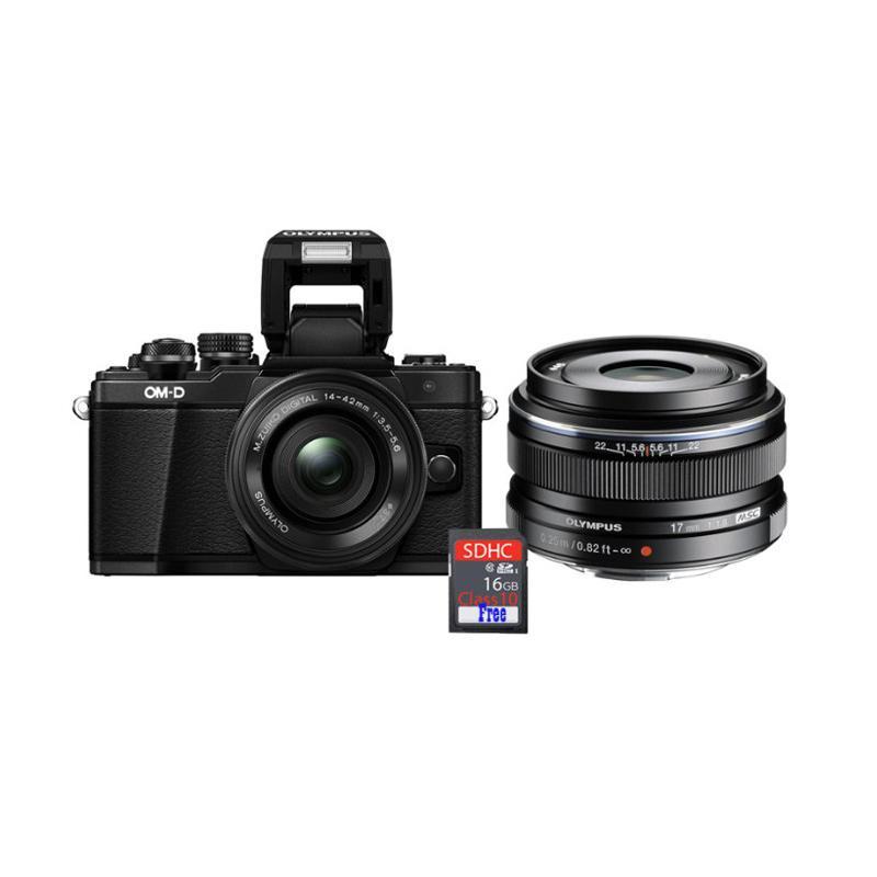 harga Olympus OMD EM10 MARK II KIT 14-42mm EZ + Lens 45mm f1.8 Kamera Mirrorless + Free SDHC 16GB - Black Blibli.com