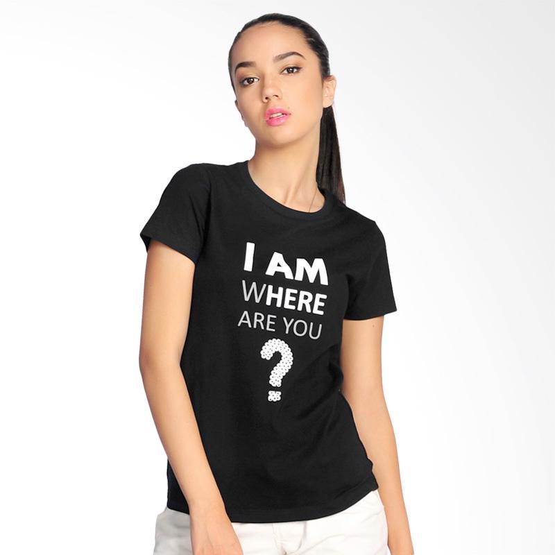 SJO & SIMPAPLY I Am Where Are You T-Shirt Pria - Black