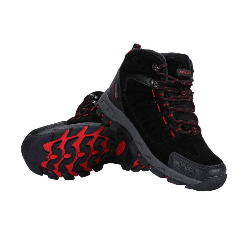 Snta Hiking Sepatu Gunung Pria - Black Red [483]