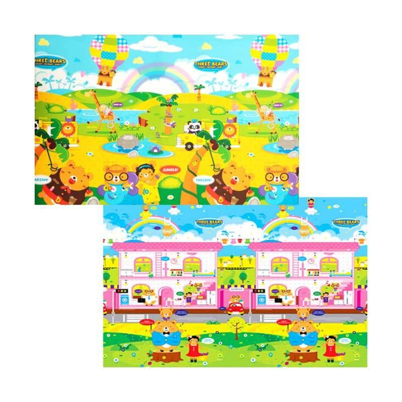 Daedong Korea Three Forest & Home Bears Playmat Karpet [210 x 140 x 1.4 cm]