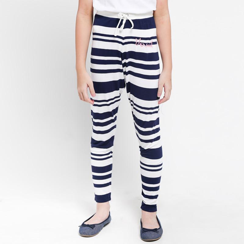 Jual Versail Enfant Salur Celana Legging Anak Perempuan White Navy Online Oktober 2020 Blibli Com
