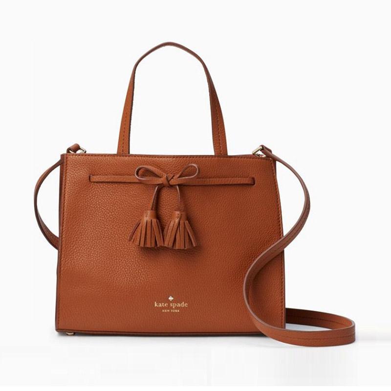 Kate Spade Hayes Street Small Isobel Satchel Bag Wanita Warm Cognac