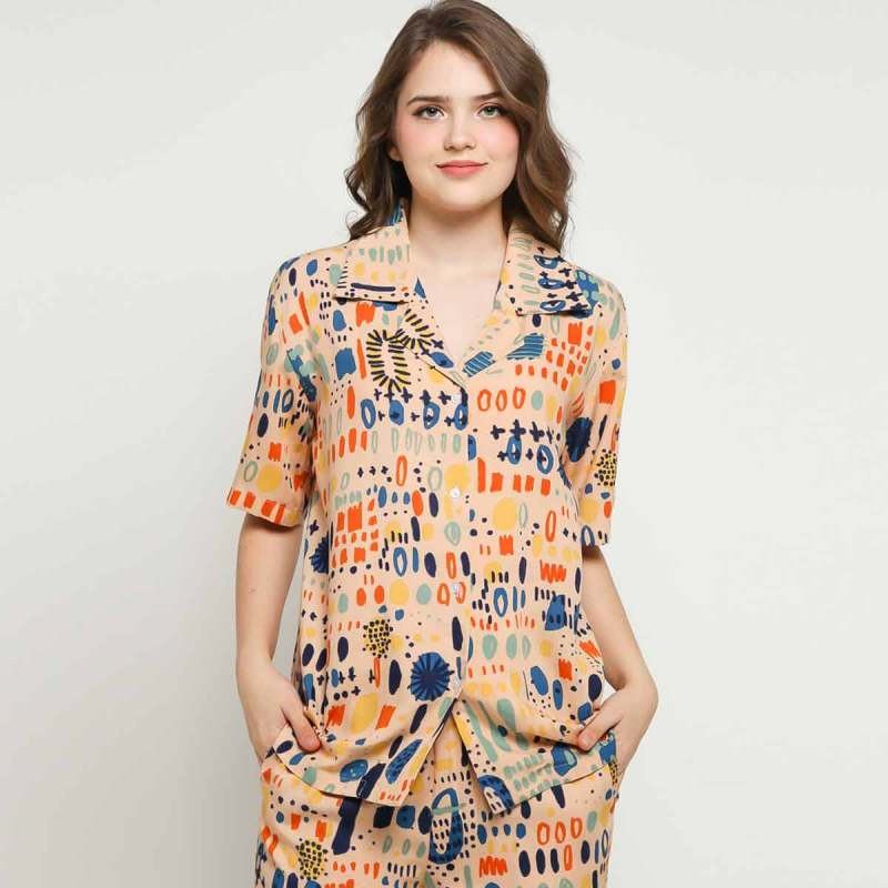 Calla The Label Candice Full Printed Kemeja Wanita Multicolor