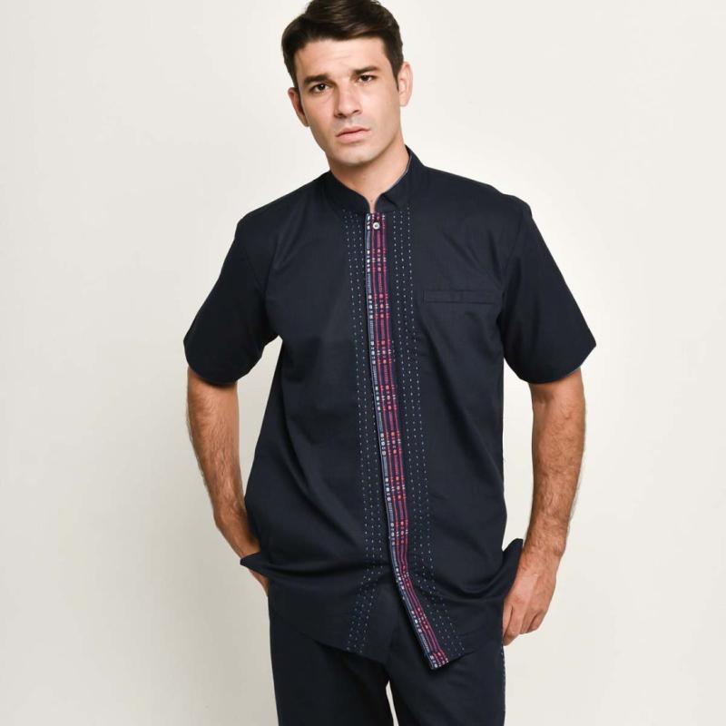 Adrie Basuki Tenun Baduy Ghodin Short Sleeve Shirt Navy