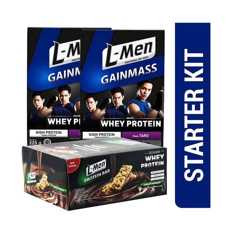 L Men Gain Mass Taro Minuman Suplemen Starter Kit 2 pcs with L Men Bar