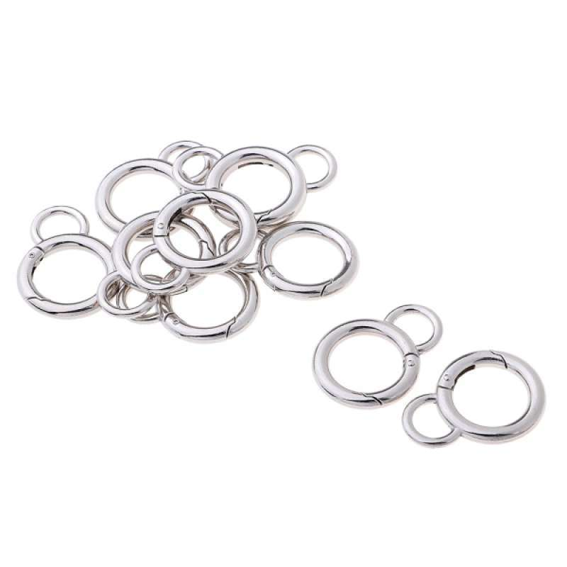 10Pcs Round Carabiner Clips ~ Spring Snap Hook Backpack Buckle for Outdoors