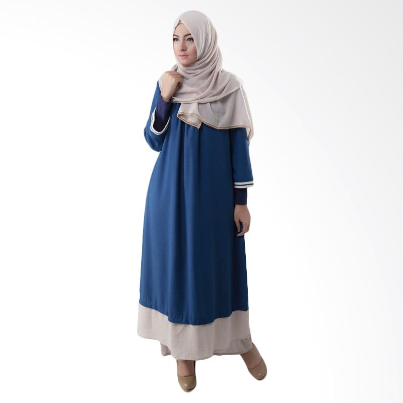 Irna Mutiara Casual Rib Dress Muslim - Blue
