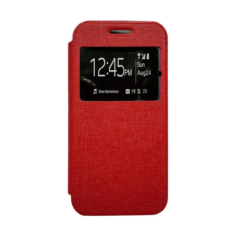 Zagbox Flip Cover Casing for Lenovo K5 Plus - Merah
