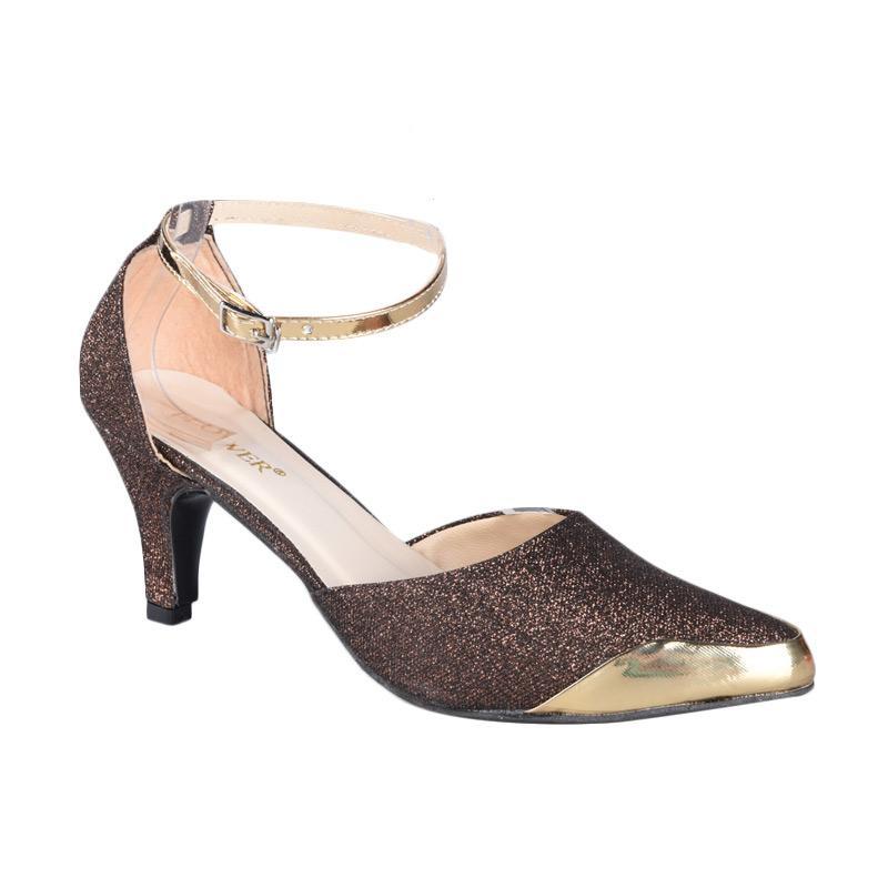 Flower SN-313 High Heels Wanita - Brown Gold