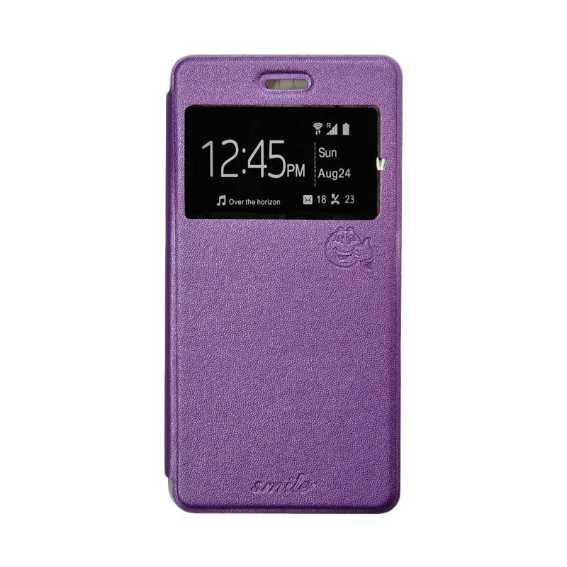 Smile Flip Cover Casing for Xiaomi Redmi 1S - Ungu