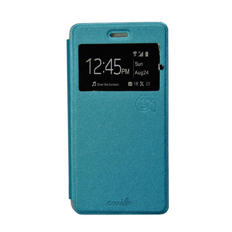 Smile Flip Cover Casing for Xiaomi mi4i - Biru Muda