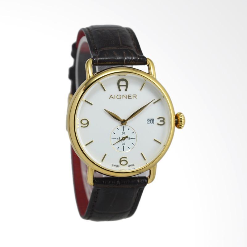 Aigner Leather Jam Tangan Pria - Brown Gold [A17113]