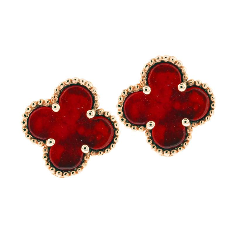 Anna Silver Clover SWE-0001 Earring - Red