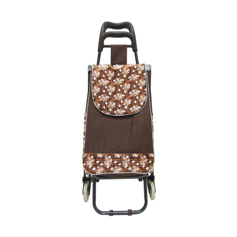 Machindo Troli Belanja Barang Motif Bunga Cokelat [3 Roda] - Tas Trolley Bag Lipat