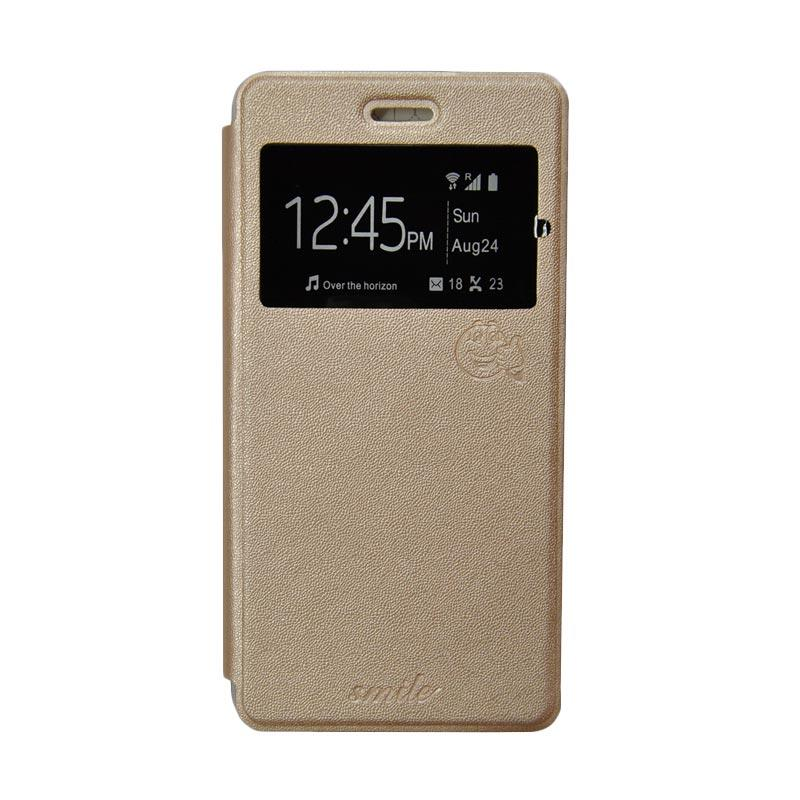 Smile Flip Cover Casing for Asus Zenfone C or Asus Zenfone 4C - Gold