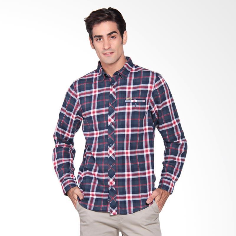 Famo Relaxed Basic Shirt Kemeja Pria - Blue 504031711
