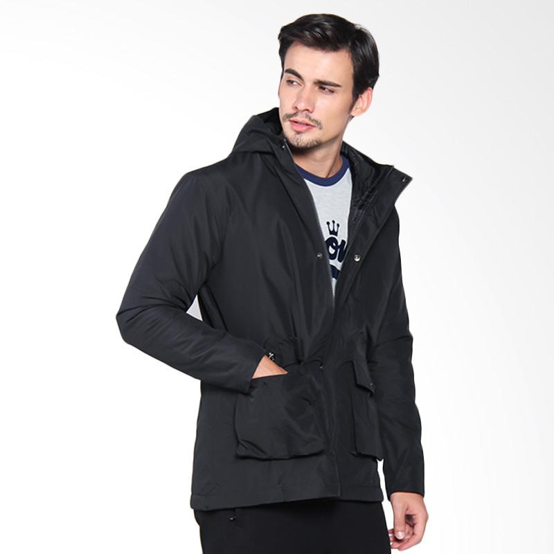 Papercut Men Pouch Pocket Casual Hoodie Jaket Pria - Black