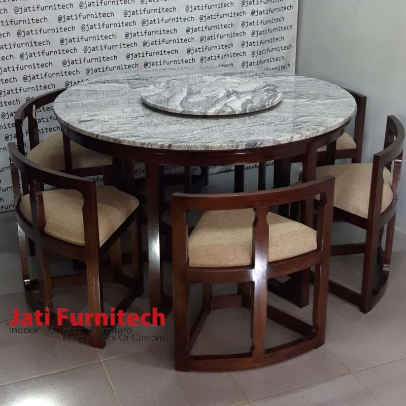 Jual Dining Set Set Meja Makan Kayu Jati Top Marmer Viscon White Online Maret 2021 Blibli