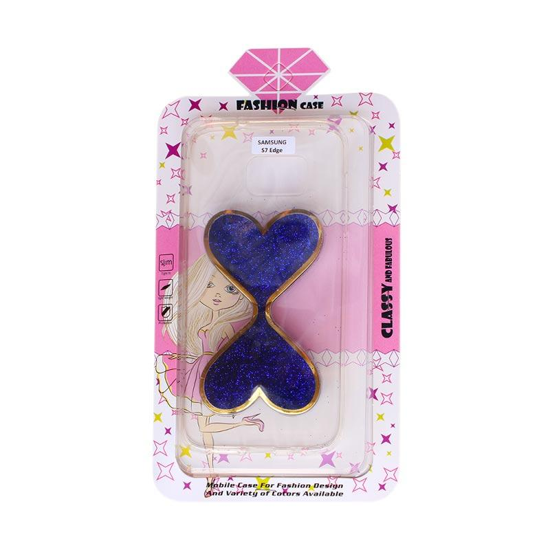 Fashion Water Glitter 2 Love Casing for Samsung S7 Edge  - Blue