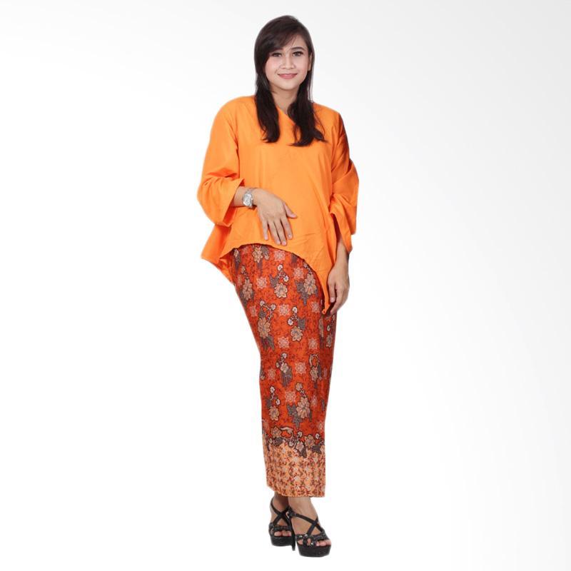 Batik Putri Ayu Solo Dress Batik Setelan Atas Bawah D91 Katun Orange