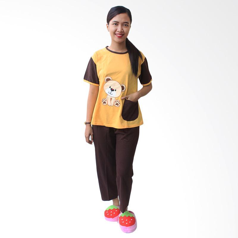 Aily SL028 Setelan Baju Tidur Wanita - Kuning