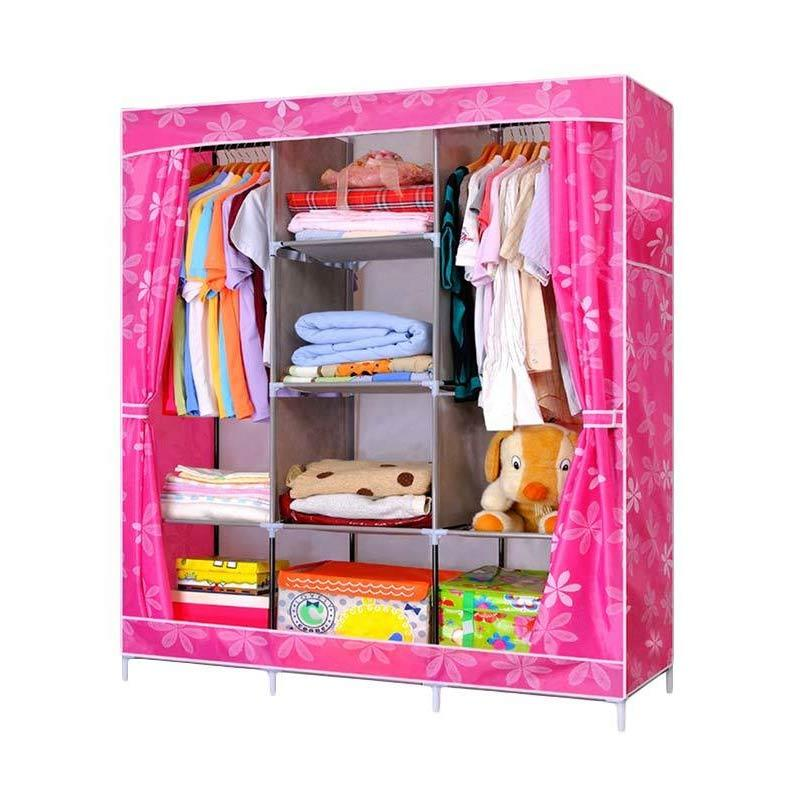 Big Space Lemari Pakaian Portable Wardrobe Pink Flower