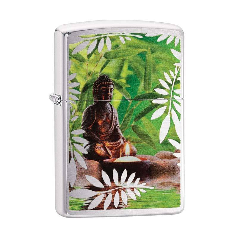 Zippo Buddha Lighter - Brushed Chrome