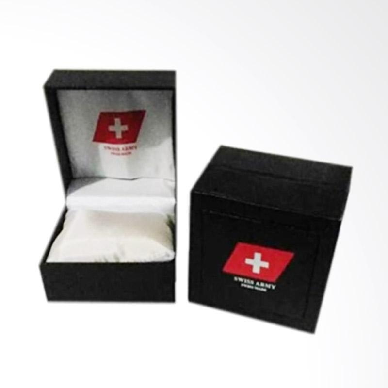 Swiss Army Leather Strap Jam Tangan Pria - Black Metalic SA 099