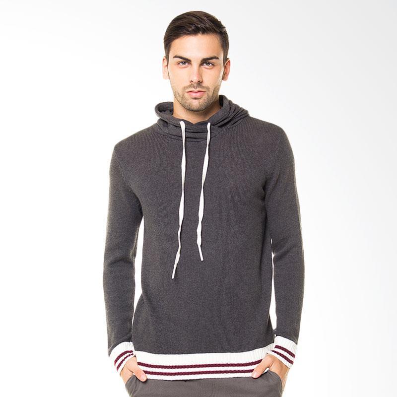 Tendencies Sweater Knitted Hoodie Sweater Pria - Grey