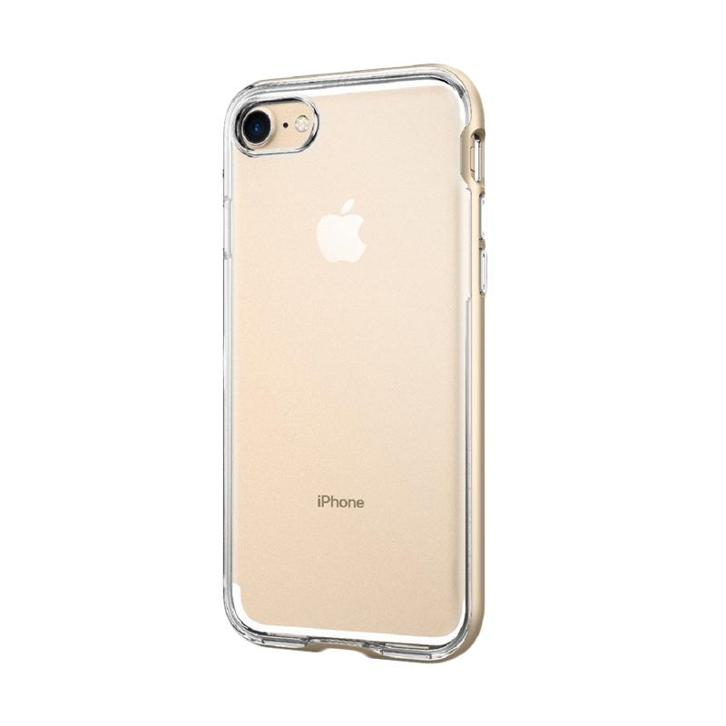 Spigen Neo Hybrid Crystal with Flexible Inner and Reinforced Hard Bumper Frame Casing for iPhone 7 2016 - Champagne Gold