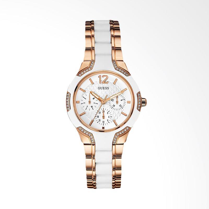 Guess U0556L3 Women Sporty White Dial Rose Gold-tone Multi-Function Watch Jam Tangan Wanita
