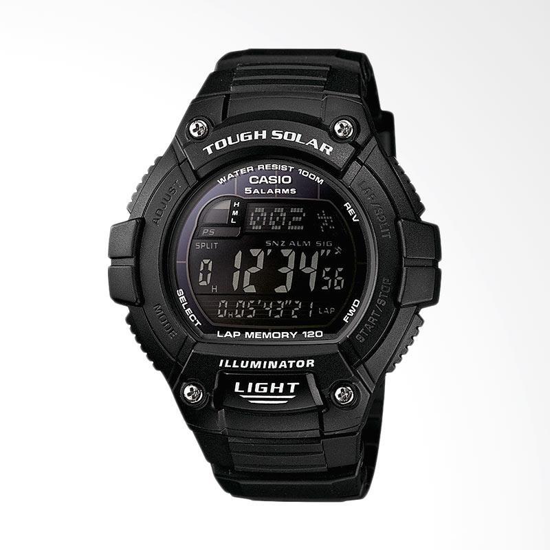 Casio Men's Tough Solar Running Watch with Black Resin Band  Jam Tangan Pria W-S220-1BVCF