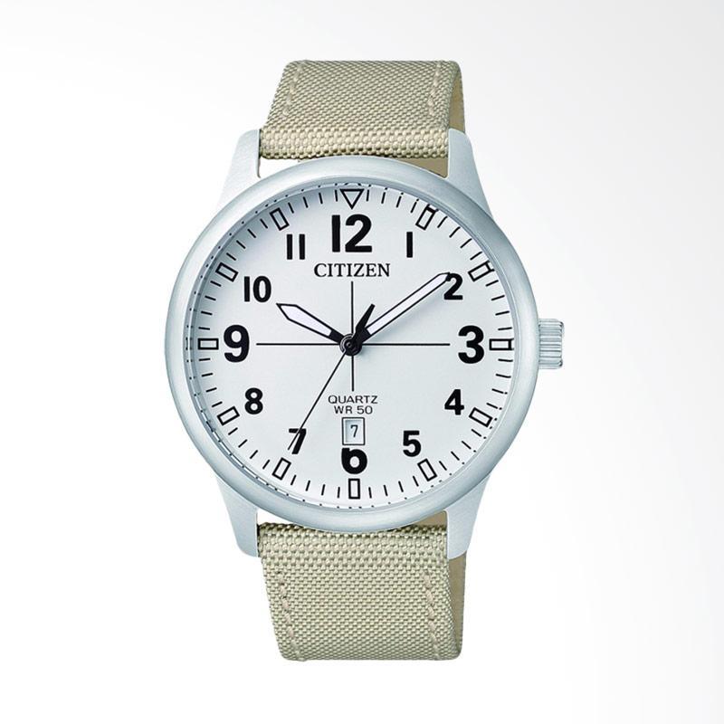 Citizen Vintage Quartz Watch White Dial Stainless Steel Case Nylon Strap Jam Tangan Pria - White BI1050-05A