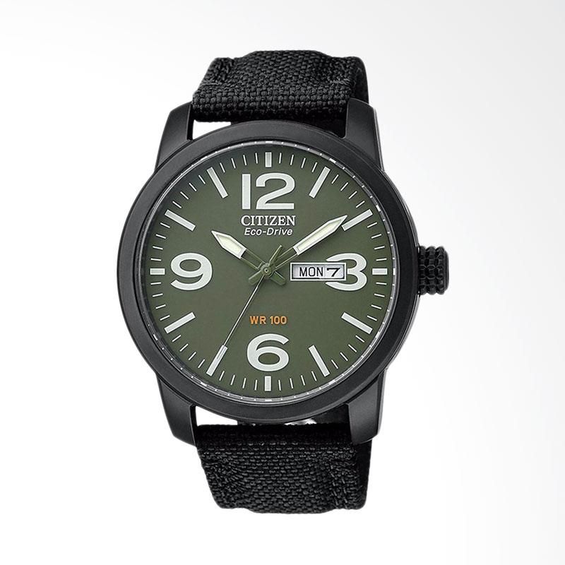 Citizen Men Eco Drive Military Green Dial Black Nylon Strap Jam Tangan Pria BM8475-00X