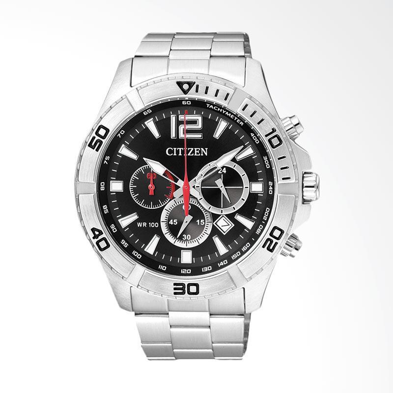 Citizen Men Chronograph Black Dial Stainless Steel Watch Jam Tangan Pria AN8120-57E