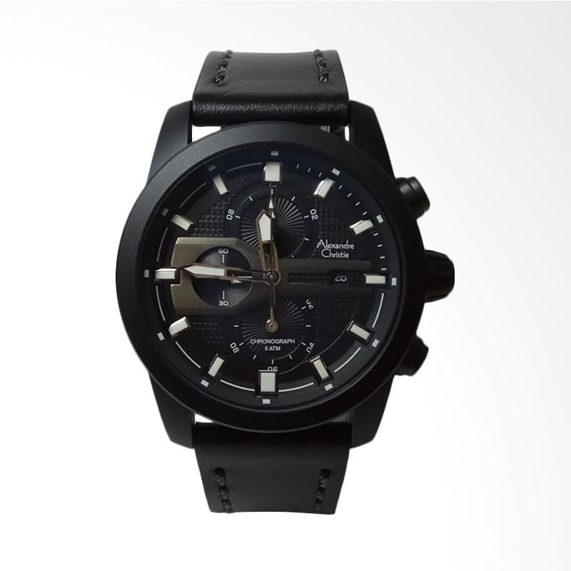 harga Alexandre Christie Stainless Steel Leather Chronograph Jam Tangan Pria - Black AC6270MC Blibli.com