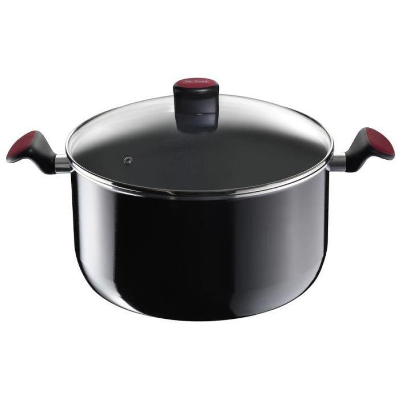 Tefal Cookware City Cook Stewpot with Lid - Black Red [26 cm]