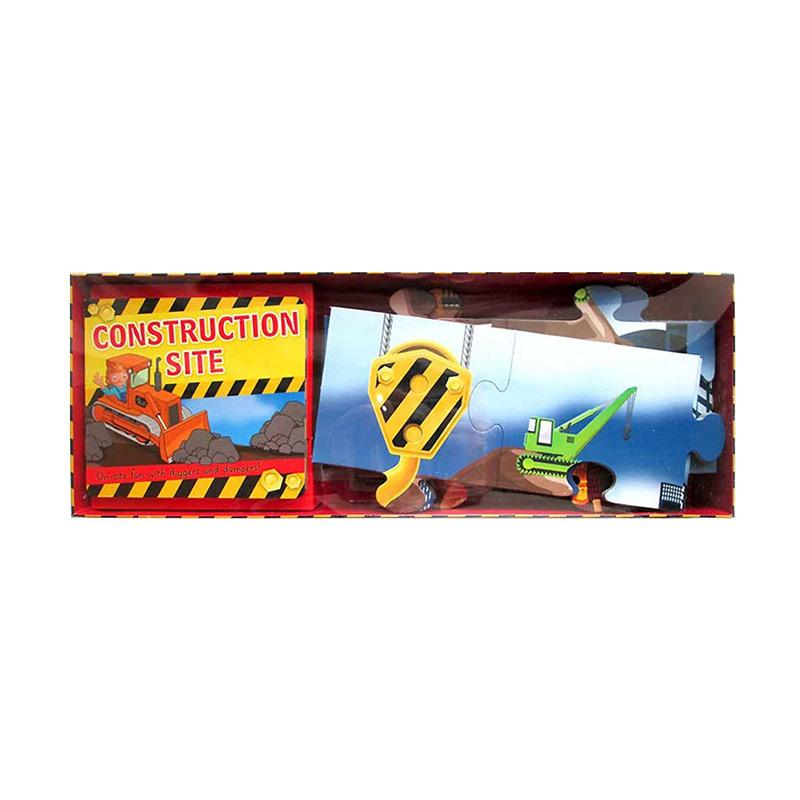 Genius Construction Site Board Book & Floor Puzzle Buku Anak [48-Piece Jigsaw Puzzle]
