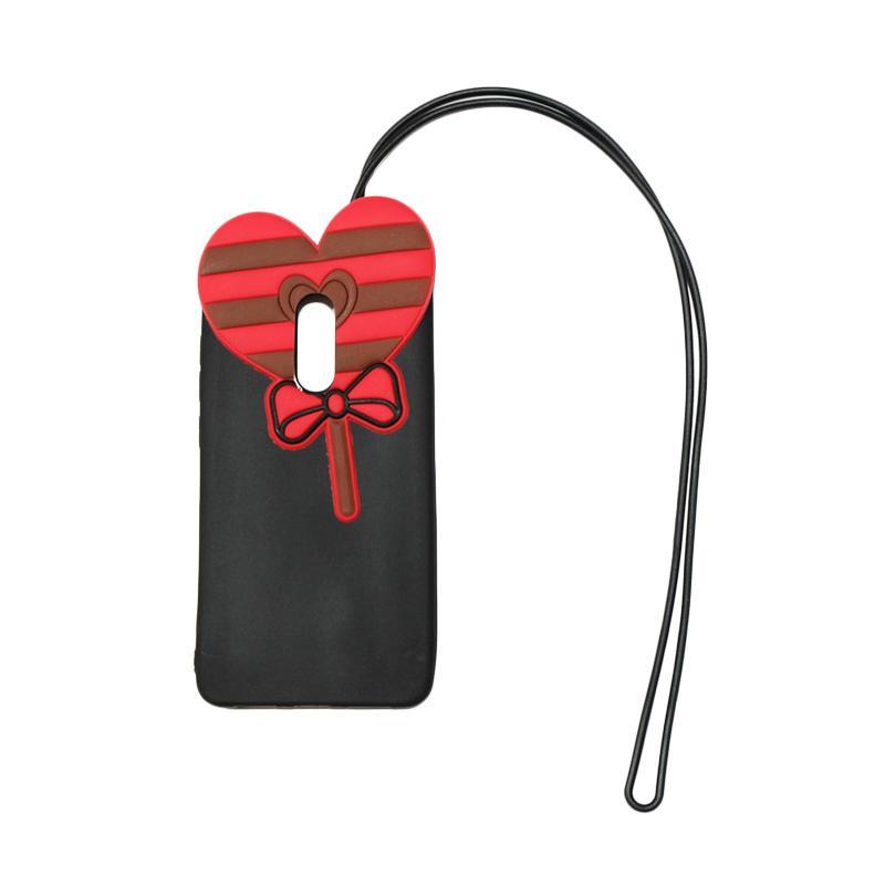 QCF 4D Karakter Candy Love Edition Silikon Softcase with Kalung Tali Gantungan Casing for Xiaomi Redmi Note 4X - Hitam
