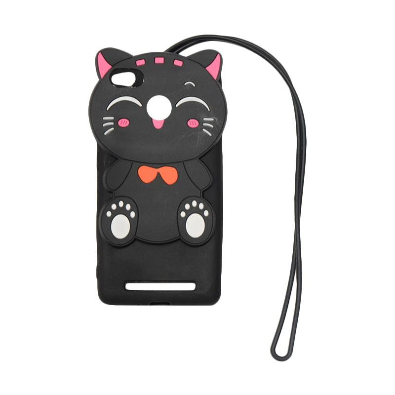 QCF Softcase 4D Silikon Case 4D Karakter Kucing Lucky Cat Edition Silikon Softcase with Kalung Tali Gantungan Casing for Xiaomi Redmi 3x - Black