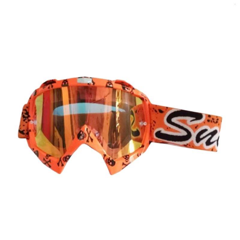 Snail MX18 Motif Tengkorak Goggles Kacamata Cross - Orange [KMT6080/ Pelangi/ Tengkorak]