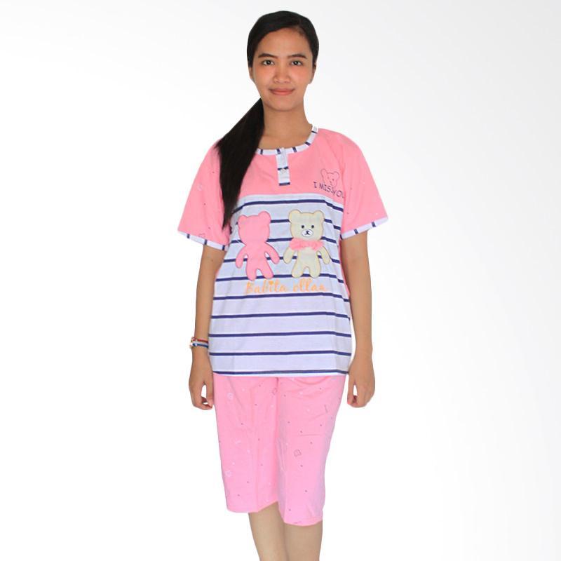 Aily 155 Setelan Baju Tidur Wanita Celana Pendek - Pink