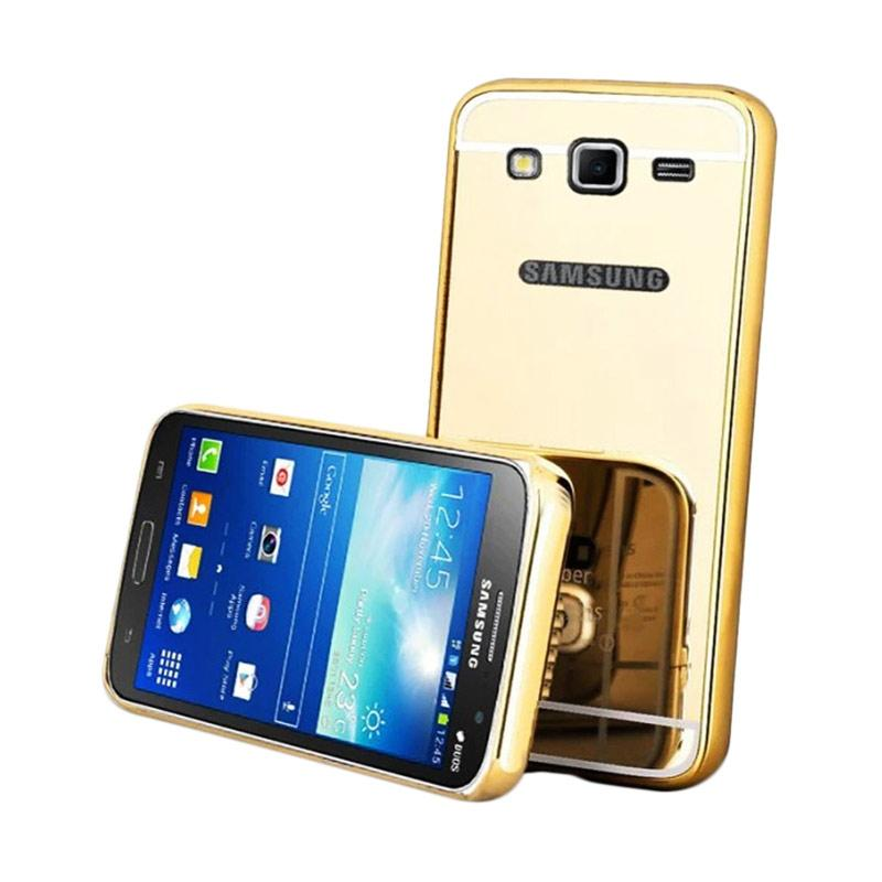QCF Bumper Mirror Siliding Alumunium Metal Hardcase Casing for Samsung Galaxy J7 Core - Gold