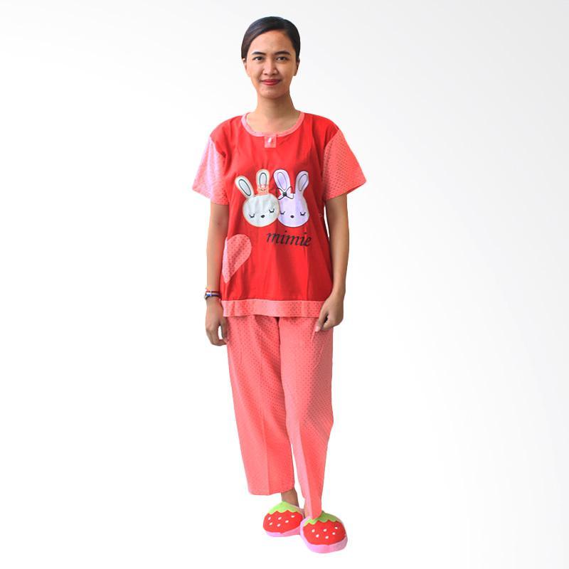 Aily SL042 Setelan Baju Tidur Wanita Celana Panjang - Merah