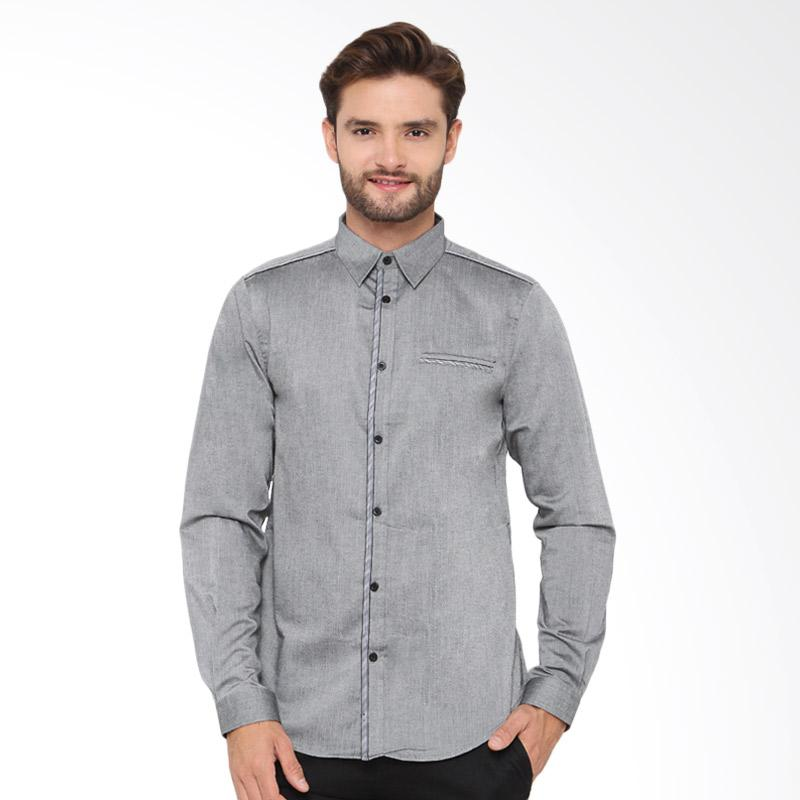 A&D Fashion Mens Shirt Long Sleeve Atasan Pria - Grey [Ms 822]