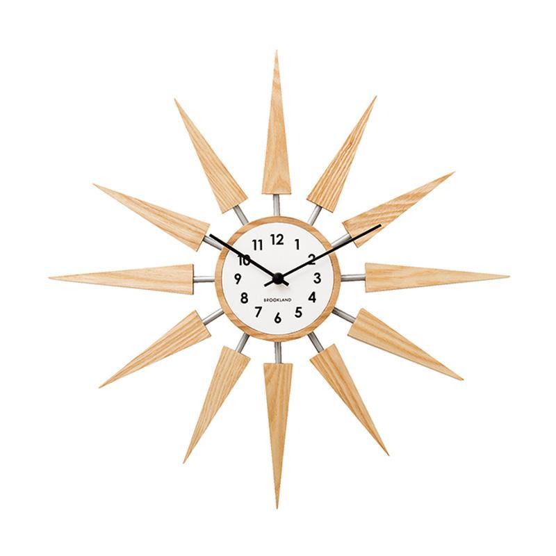 Zeller Life Starburst Harolt Wooden Modern Home Decor Wall Clock - Light Wood